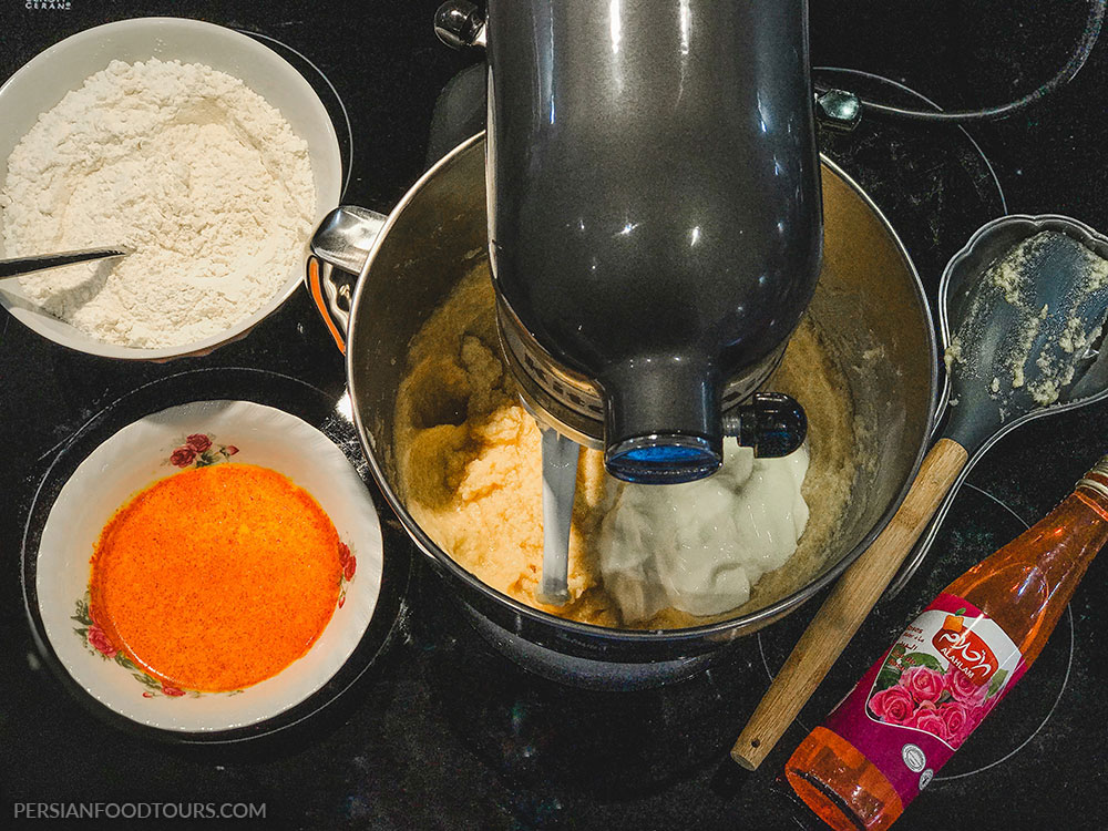 mixing the ingredients for Persian love cake