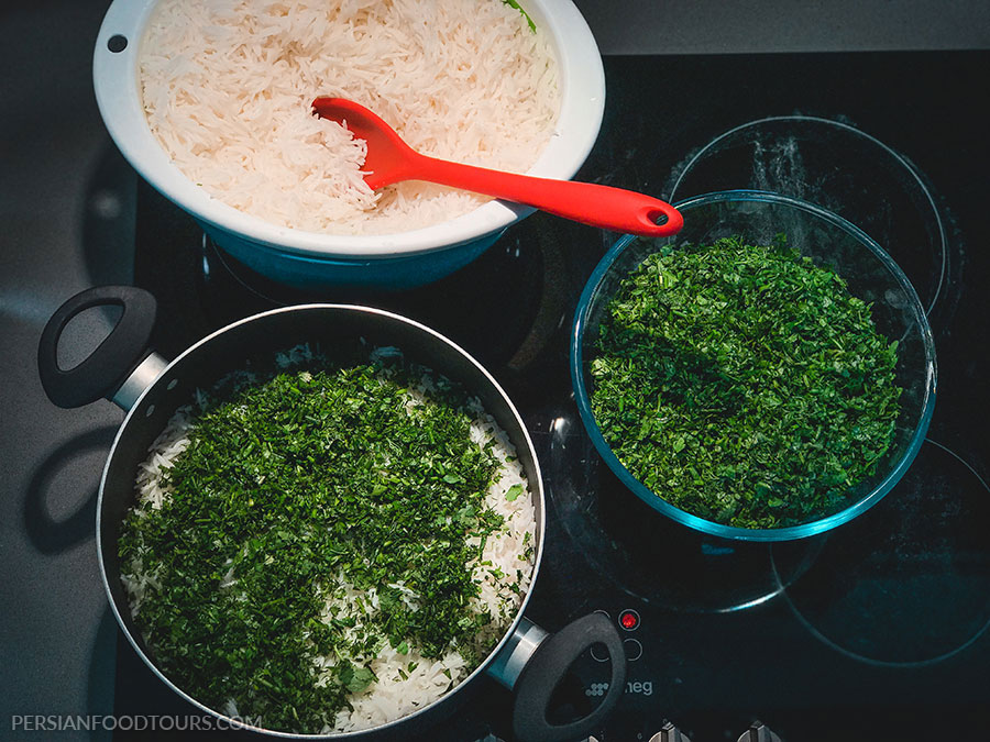 herbs for Sabzi polo mahipersian herb rice and fish\